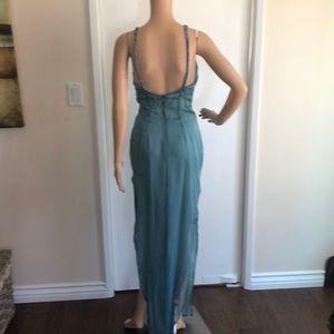 Richard Tyler Couture Dresses - RICHARD TYLER AQUAMARINE SILK DRESS